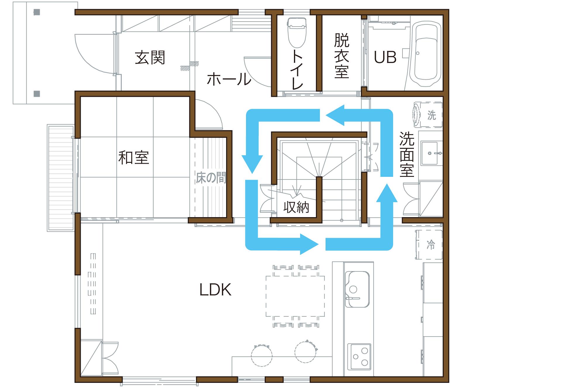 代表的な回遊動線の間取り図 豊田市 T様邸