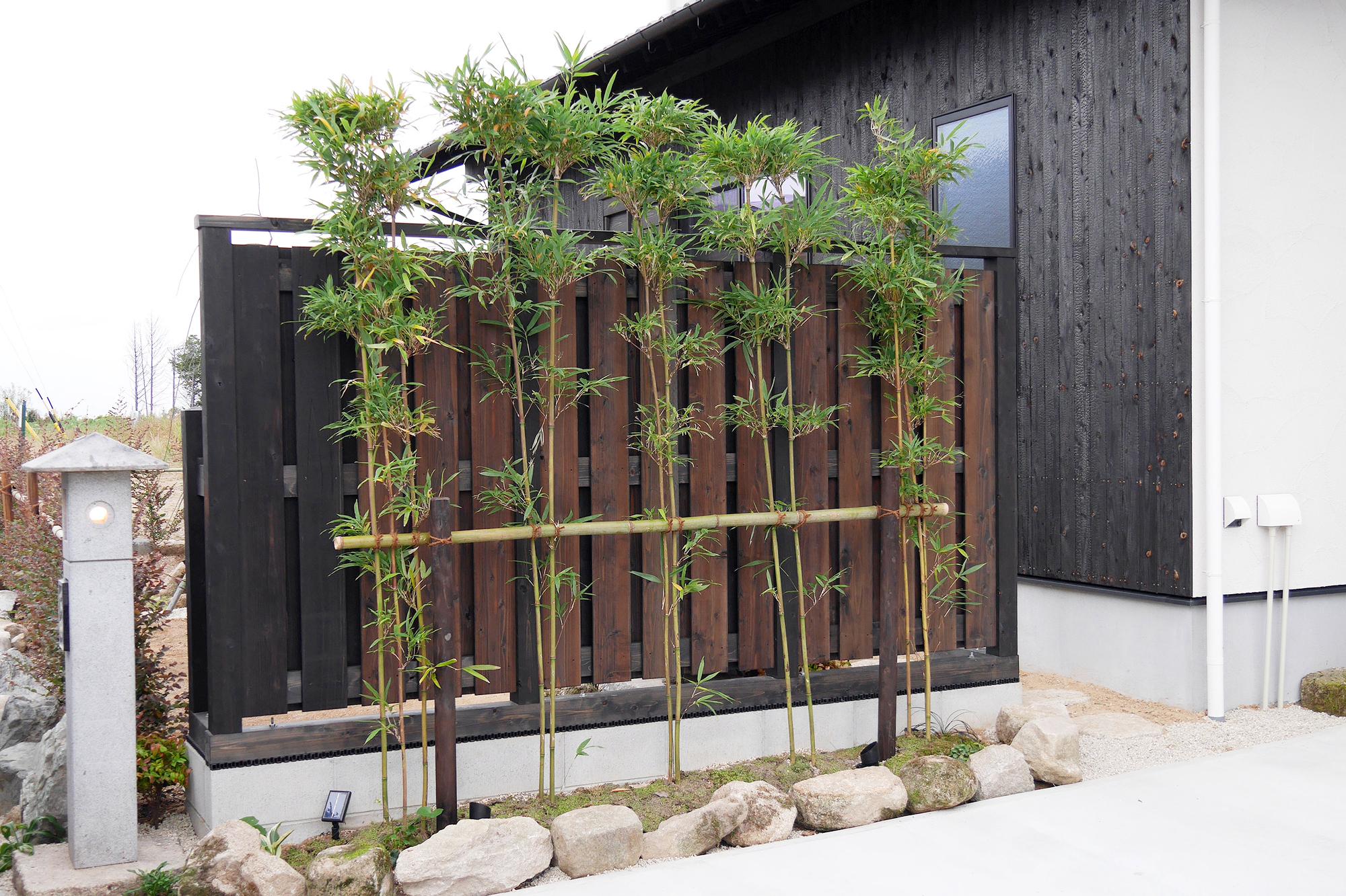 風を通す大和塀と四季を通じて清々しい色合いの大名竹。